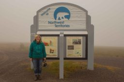Standing at the Territorial border between the NWT and YU. Photo by S.F. Lamoureux.